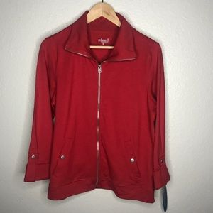 Charter Club Relaxed Red Full Zip Jacket M New